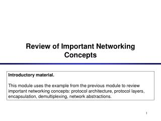 Review of Important Networking Concepts