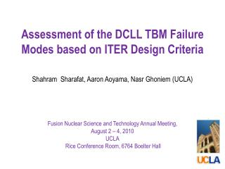 Assessment of the DCLL TBM Failure Modes based on ITER Design Criteria