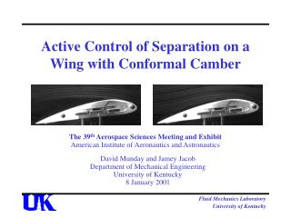 Active Control of Separation on a Wing with Conformal Camber