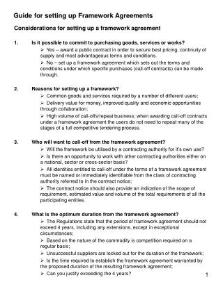 Guide for setting up Framework Agreements