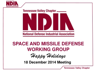SPACE AND MISSILE DEFENSE WORKING GROUP Happy Holidays