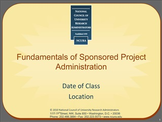 Fundamentals of Sponsored Project Administration