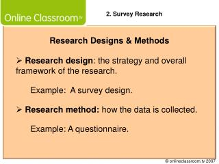 Research Designs & Methods