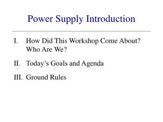 Power Supply Introduction