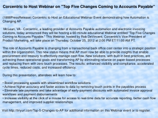 "Corcentric to Host Webinar on ""Top Five Changes Coming to Ac"