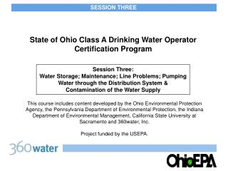 State of Ohio Class A Drinking Water Operator  Certification Program