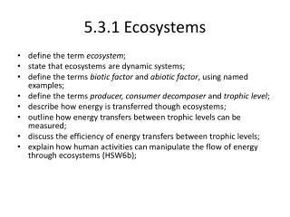 5.3.1 Ecosystems