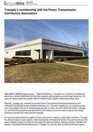 Power Transmission Distributors Association | Transply, Inc