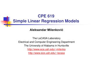 CPE 619 Simple Linear Regression Models
