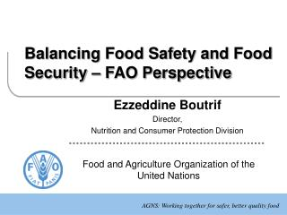 Balancing Food Safety and Food Security – FAO Perspective
