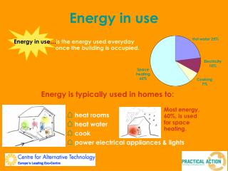 Energy is typically used in homes to:   heat rooms  heat water  cook  power electrical appliances  lights