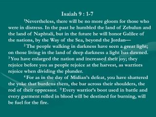 Isaiah 9 : 1-7