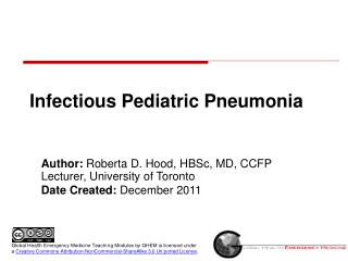 Infectious Pediatric Pneumonia