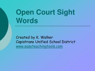 Open Court Sight Words