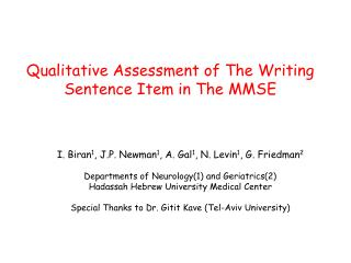 Qualitative Assessment of The Writing Sentence Item in The MMSE