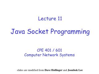 Lecture 11 Java  Socket Programming