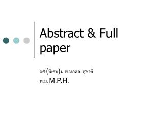 Abstract & Full paper