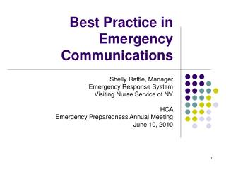 Best Practice in Emergency Communications