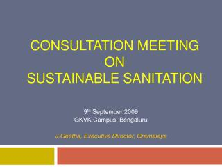 Consultation meeting on  Sustainable Sanitation