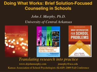 Doing What Works: Brief Solution-Focused Counseling in Schools