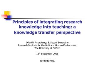 Principles of integrating research knowledge into teaching: a knowledge transfer perspective   Dilanthi Amaratunga  Sepa