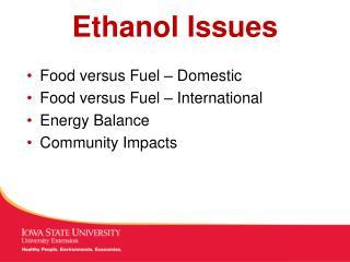 Ethanol Issues