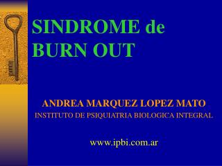 SINDROME de BURN OUT