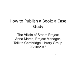 How to Publish a Book: a Case Study