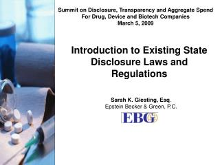 Introduction to Existing State Disclosure Laws and Regulations