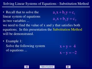 Solving Linear Systems of Equations - Substitution Method