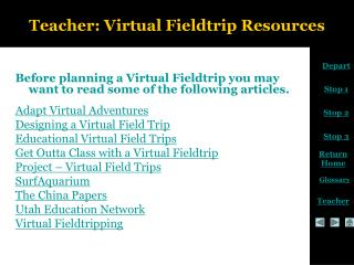 Teacher: Virtual Fieldtrip Resources