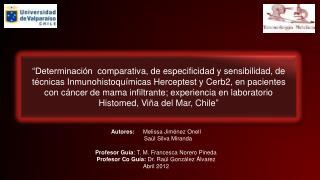 Autores:  Melissa Jiménez Onell                Saúl Silva Miranda Profesor Guía :  T. M. Francesca Norero Pineda Profes