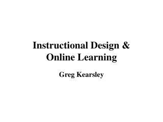 Instructional Design &  Online Learning
