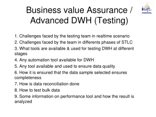 Business value Assurance  Advanced DWH Testing