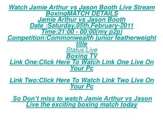 Live SS Tv:Live Jason Booth vs Jamie Arthur FREE LIVE STREAM