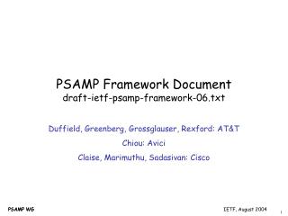 PSAMP Framework Document draft-ietf-psamp-framework-06.txt