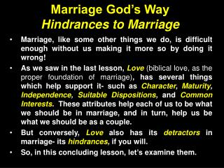 Marriage God's Way Hindrances to Marriage