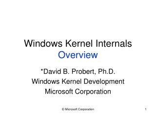 Windows Kernel Internals Overview