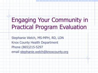 Engaging Your Community in Practical Program Evaluation