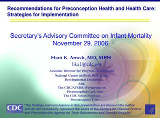 Recommendations for Preconception Health and Health Care:  Strategies for Implementation
