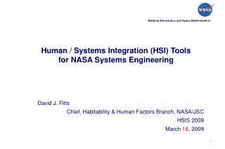 Human / Systems Integration (HSI) Tools for NASA Systems Engineering