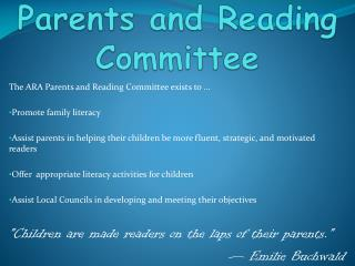 Parents and Reading Committee