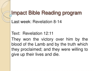 Impact Bible Reading program