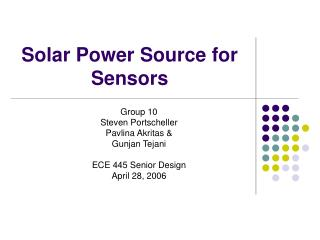 Solar Power Source for Sensors