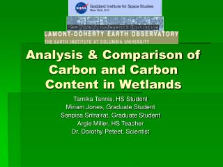 Analysis & Comparison of Carbon and Carbon Content in Wetlands