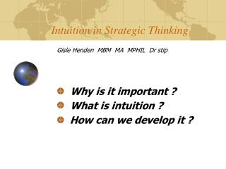 Intuition in Strategic Thinking