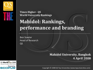 Times Higher - QS World University Rankings Mahidol : Rankings, performance and branding