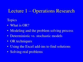 Lecture 1 – Operations Research