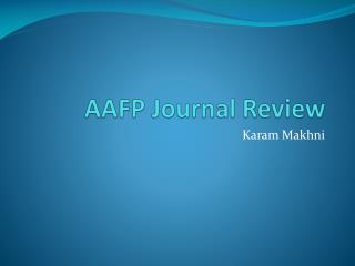 AAFP Journal Review