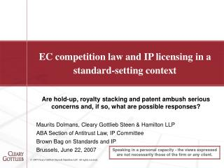 EC competition law and IP licensing in a standard-setting context